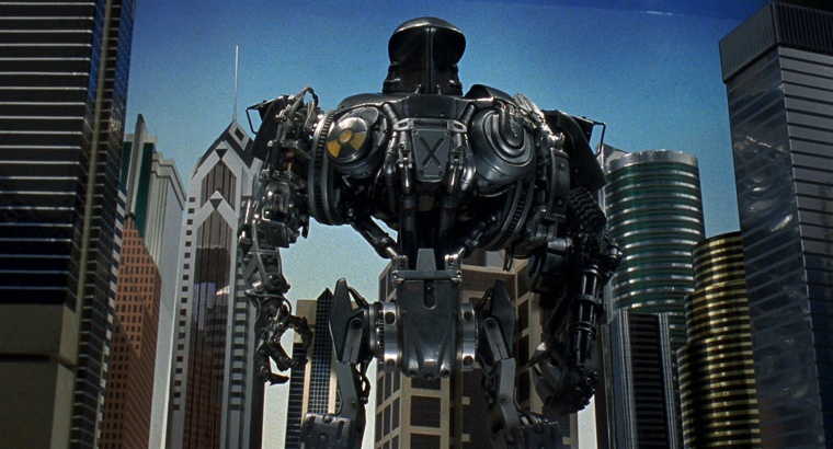 This is Robocop 2. It's got that classic video game boss trait - a giant X on its chest which might just be pointing out its weak spot