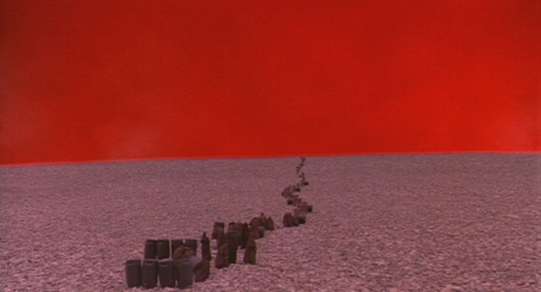 Don't try figuring out why this bizarre red planet features. It gets explained in later movies