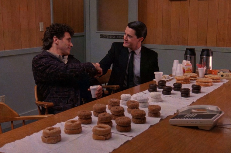 """Sheriff, I've bought doughnuts for every major character in Twin Peaks."" ""I think you might need a few dozen more, Coop"""